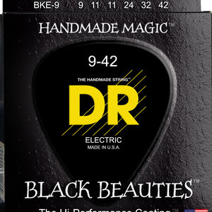 DR DR Black Beauties Black Colored Electric Guitar Strings: Light 9-42