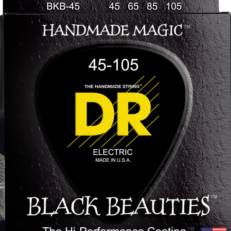 DR DR Black Beauties Black Colored Bass Strings: Medium 45-105