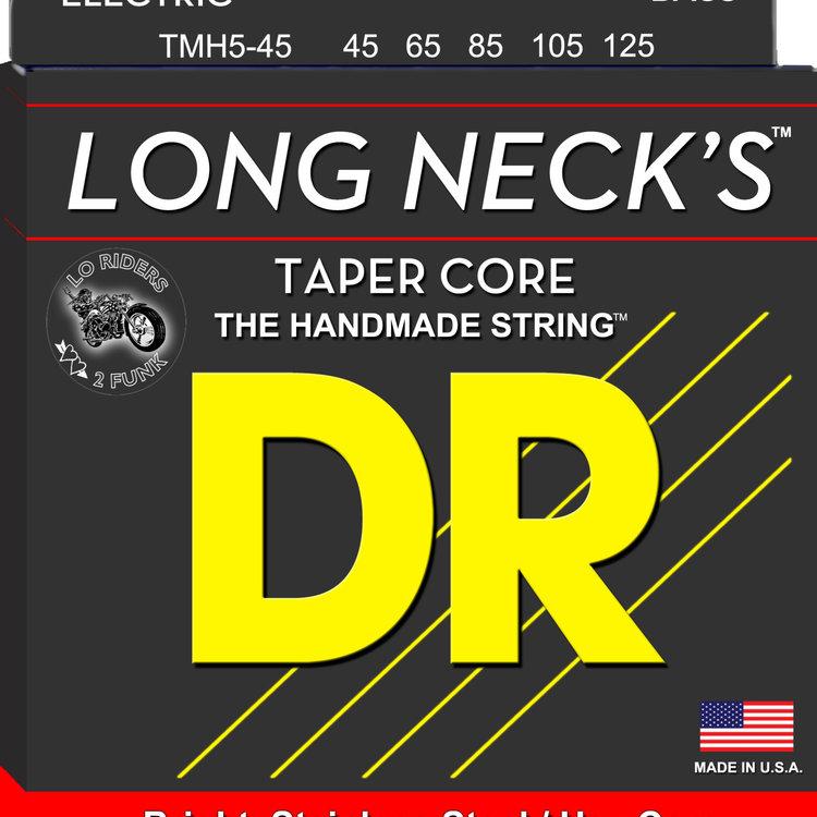DR DR Long Necks Tapered Stainless Steel Bass Strings: 5-String Medium 45-125