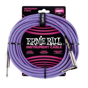 Ernie Ball Ernie Ball 25' Braided Straight / Angle Instrument Cable - Purple