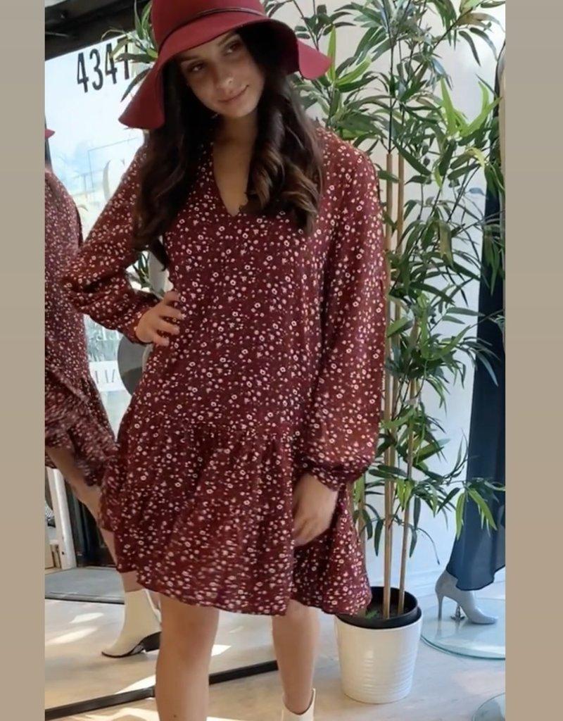 Maroon boho dress