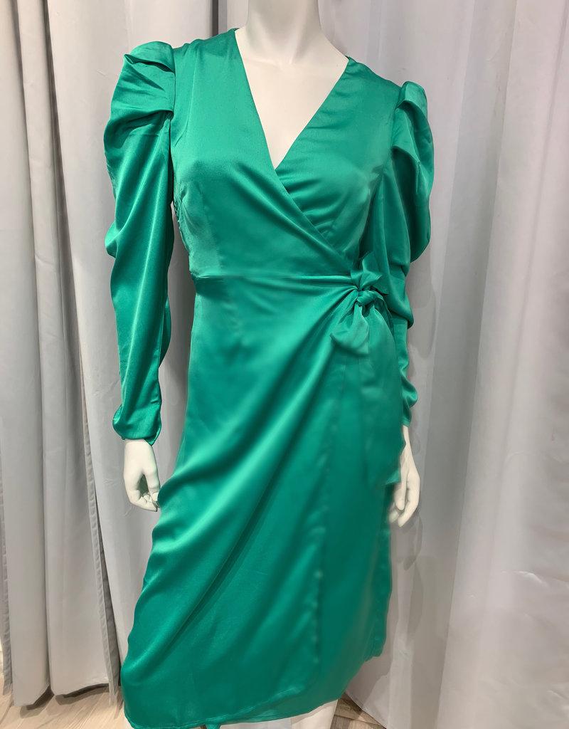 Green sateen wrap dress