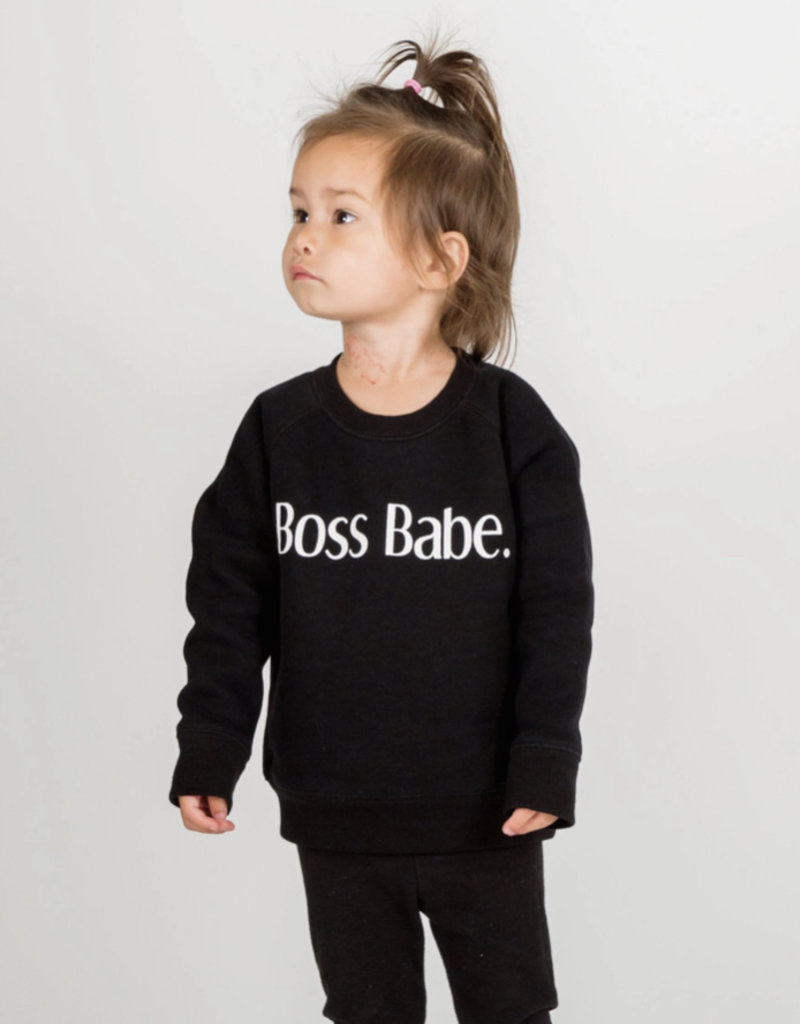 Brunette the label boss babe kids sweatshirt