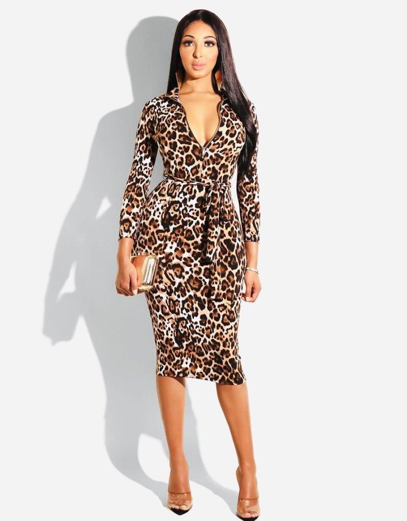 Leopard midi dress