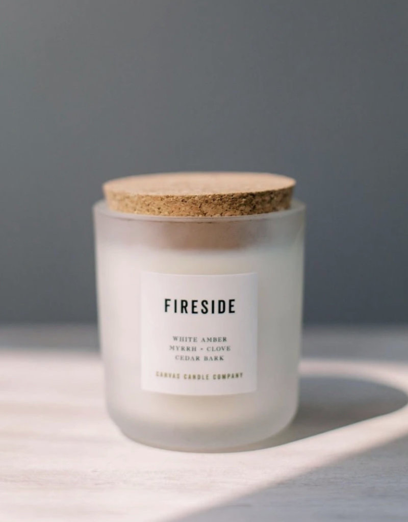 canvas candle signature collection Fireside scent: notes amber,myrrh,cedar,clove