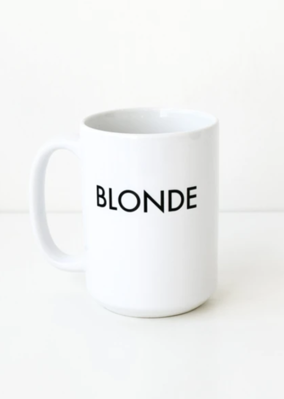 Brunette the label Blonde coffee mug