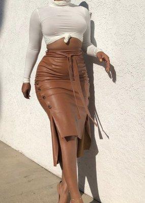 Mariah  high/Lo vegan leather skirt
