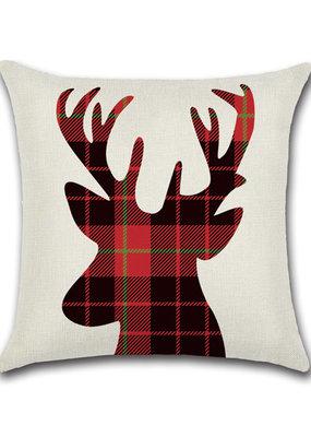 Plaid stag cushion
