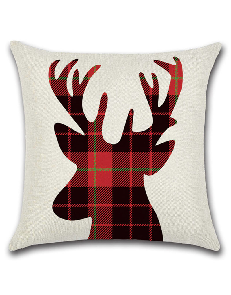 Plaid stag cushion