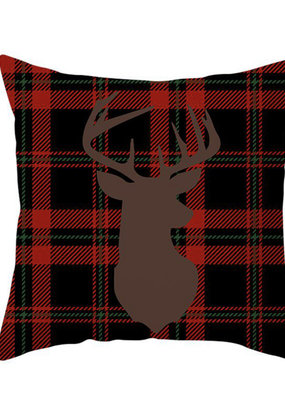 Plaid cushion with stag