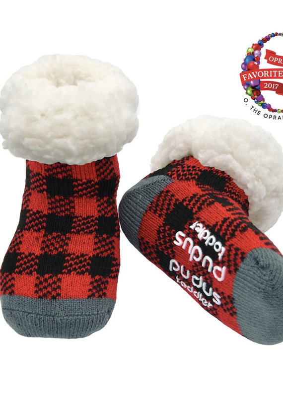 Pudus Toddler slipper sock plaid red