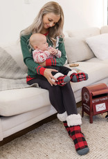 Pudus Toddlers slipper sock plaid red
