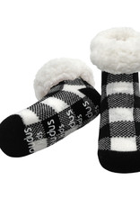 Pudus Toddler slipper socks plaid black