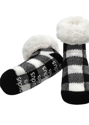Pudus Toddler slipper socks plaid black