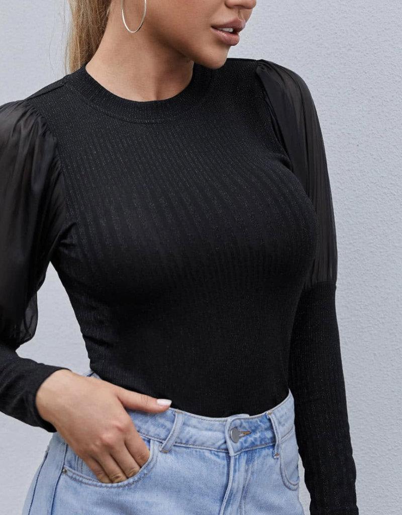 Lurex top w/sheer sleeve