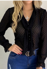 Sheer dotty top w/neck tie