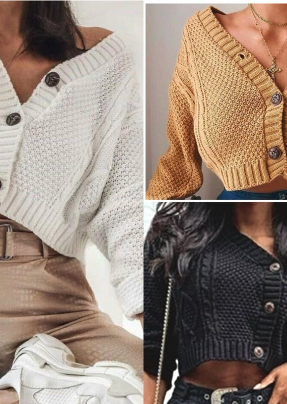 Crop cable sweater