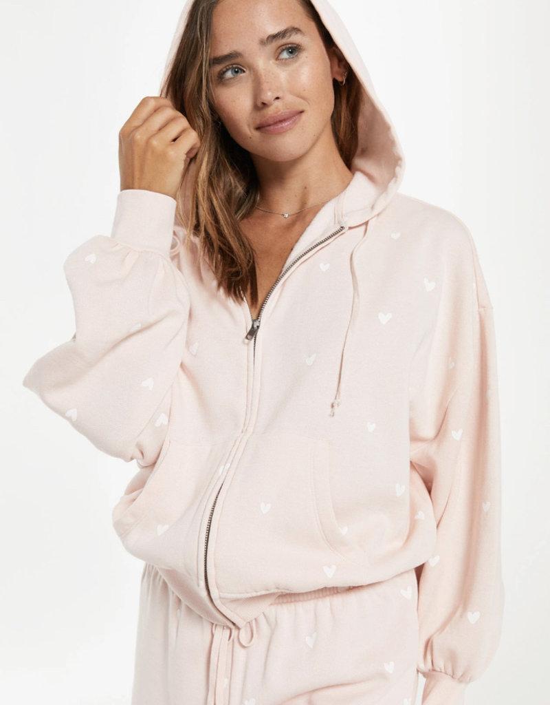 Z SUPPLY Hearts full fleece hoodie
