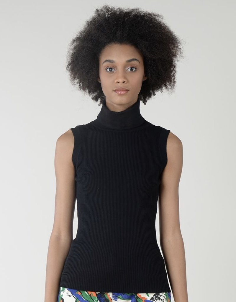 T-neck ribbed knit slvless top