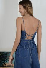 Denim jumpsuit lace up back