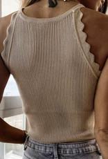 Scalloped knit tank