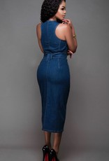 Chambray zip dress