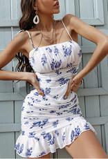 Blue floral ruched dress