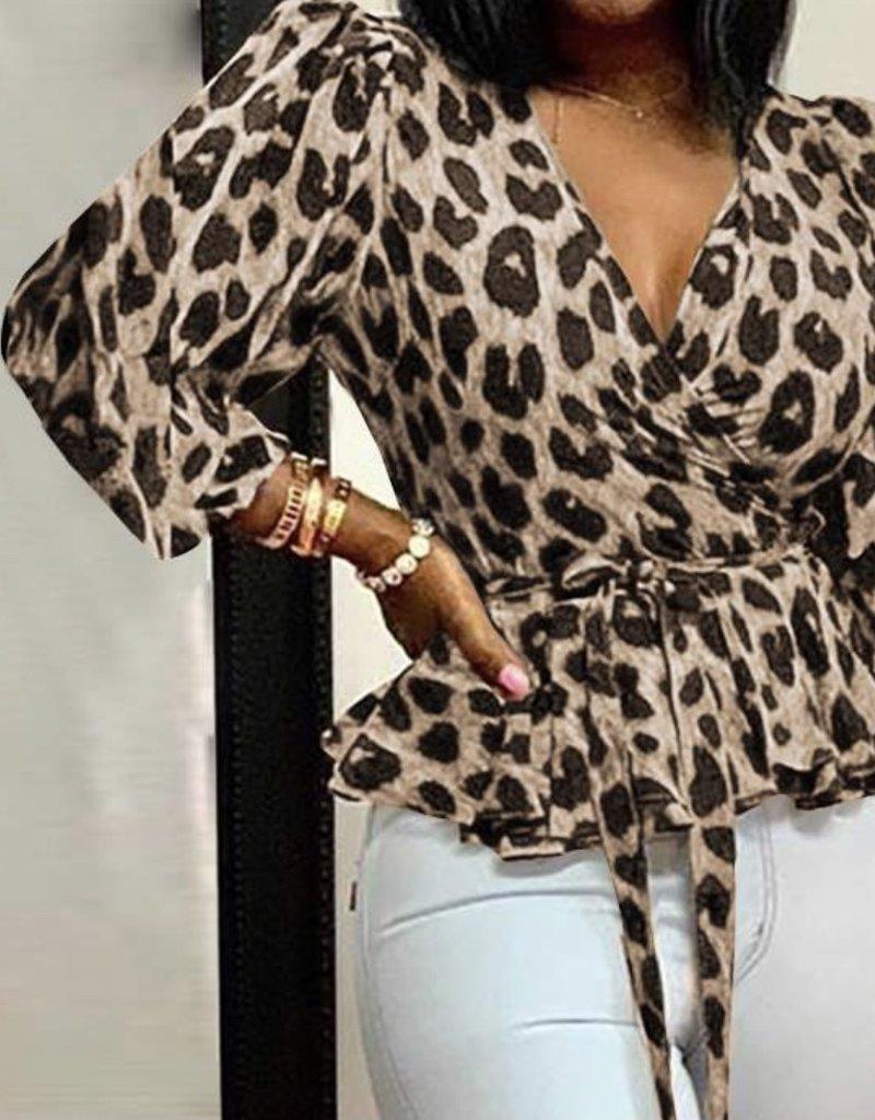 Wrap leopard top