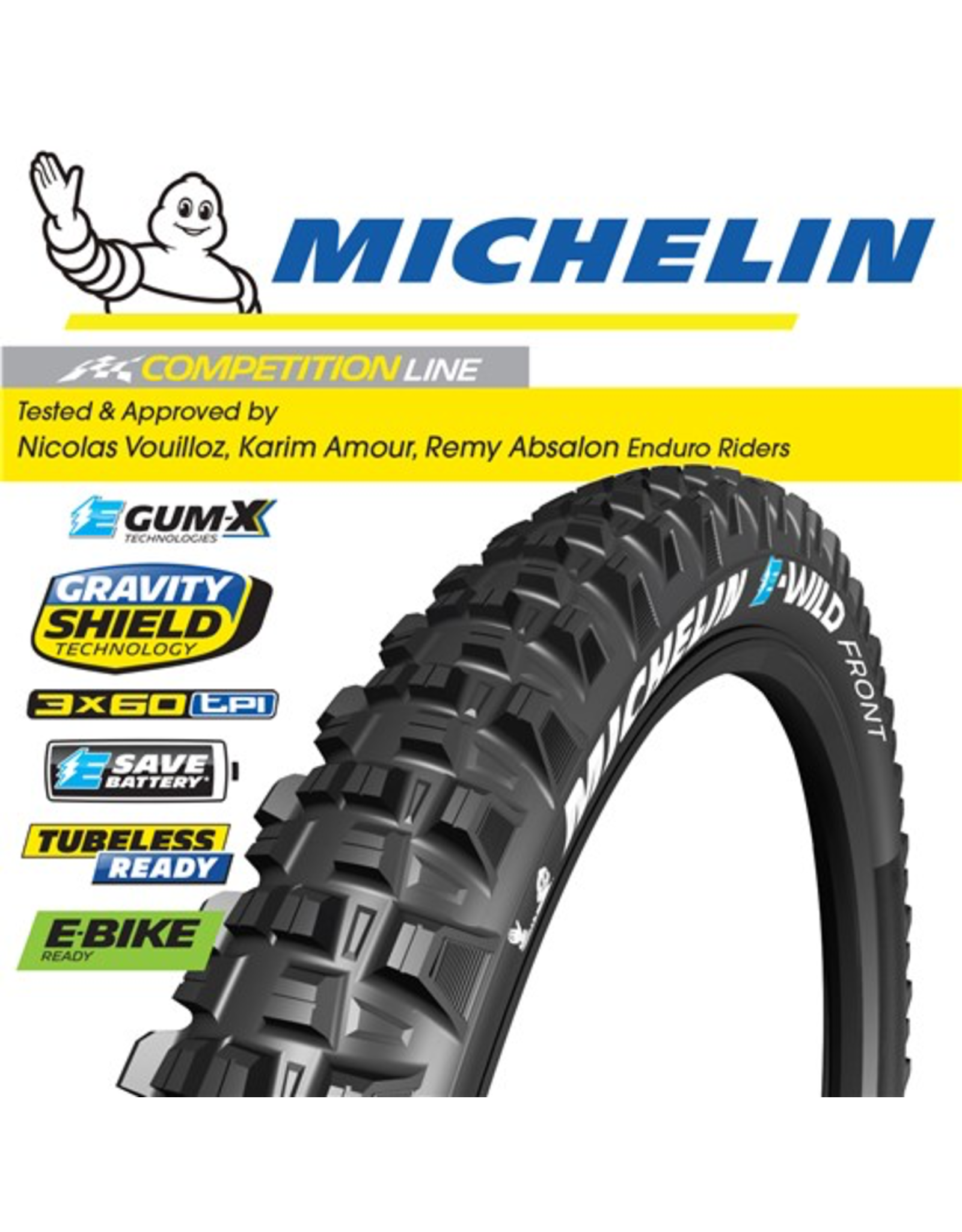 """MICHELIN TYRE MICHELIN E-WILD F COMPETITION  GUM-X 27.5x2.6"""" FOLD"""