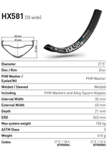 "DT Swiss RIM 27.5"" DT SWISS HX581 28H BLACK (35MM WIDE) E-BIKE COMPATIBLE"