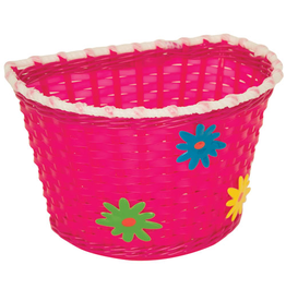 BIKECORP BASKET KIDS BITZ PINK BASKET WITH GREEN, BLUE AND YELLOW FLOWERS