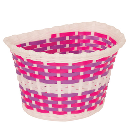 KIDS BITZ BASKET KIDS BITZ WHITE BASKET WITH PINK AND PURPLE WEAVE