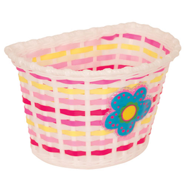 KIDS BITZ BASKET KIDS BITZ WHITE BASKET WITH BLUE FLOWER AND PINK/ YELLOW WEAVE