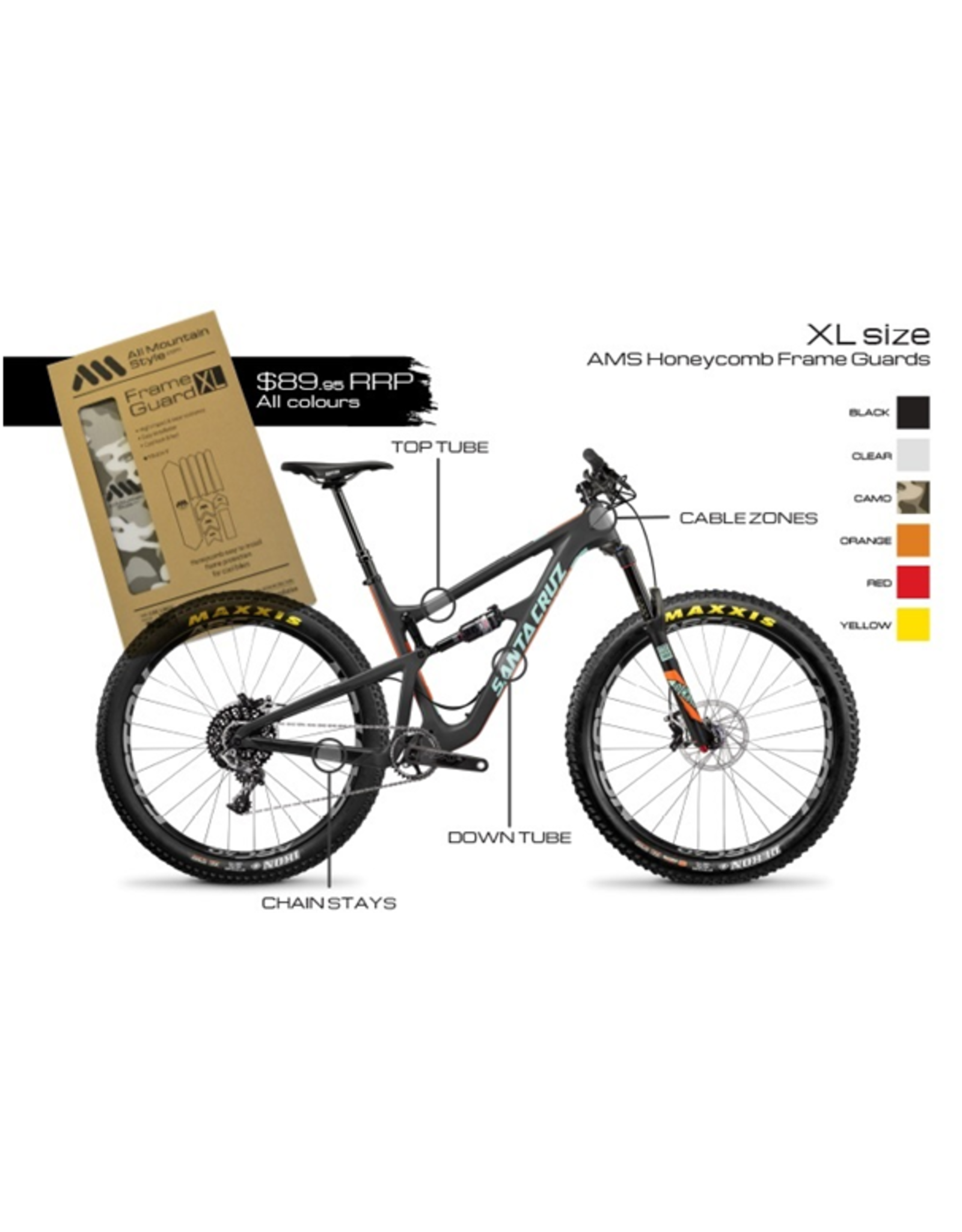 ALL MOUNTAIN STYLE FRAME PROTECTION ALL MOUNTAIN STYLE (AMS) FRAME GUARD XL CLEAR /SILVER