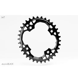 ABSOLUTE BLACK CHAINRING ABSOLUTE BLACK 4 BOLT OVAL 94 X 34T SRAM BLACK