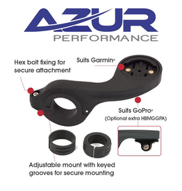 AZUR AZUR CYCLE COMPUTER OUT FRONT HANDLEBAR MOUNT BLACK