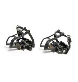 "AZUR AZUR RAPID+ MTB/ROAD ALLOY 9/16"" BLACK PEDALS WITH TOE CLIP & STRAPS"