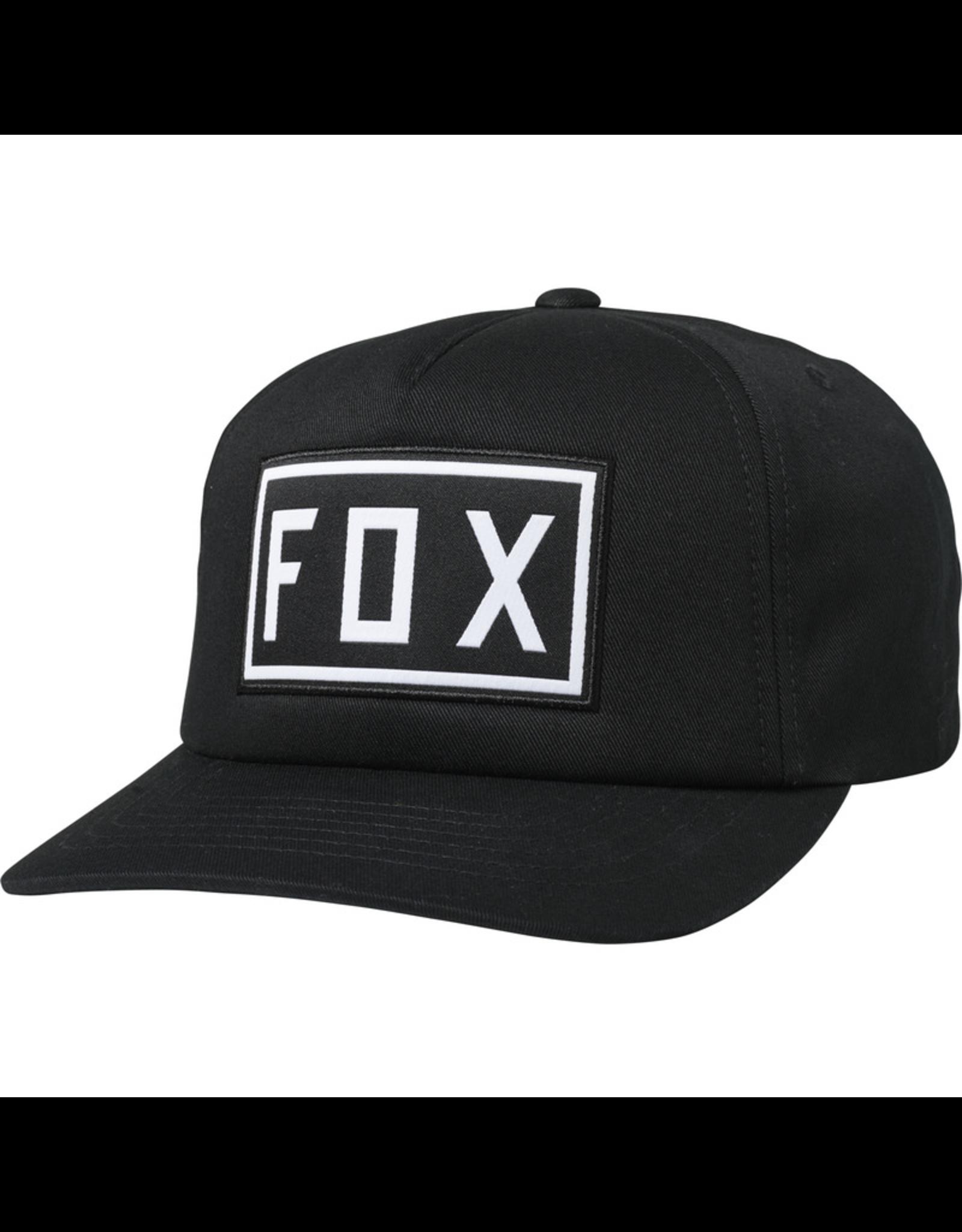 FOX HAT FOX DRIVETRAIN BLACK/BLACK OS SNAPBACK