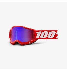 100% 100% ACCURI 2 MIRROR LENS NEON RED GOGGLES