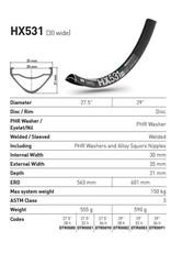 "DT Swiss RIM 29"" DT SWISS HX531 28H BLACK (30MM WIDE) E-BIKE COMPATIBLE"