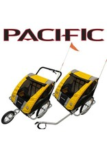 Pacific TRAILER PACIFIC DELUXE 2 IN 1 DOUBLE TRAILER/STROLLER - 2 CHILD