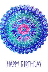 Create Greeting Card-Happy Birthday-Mandala