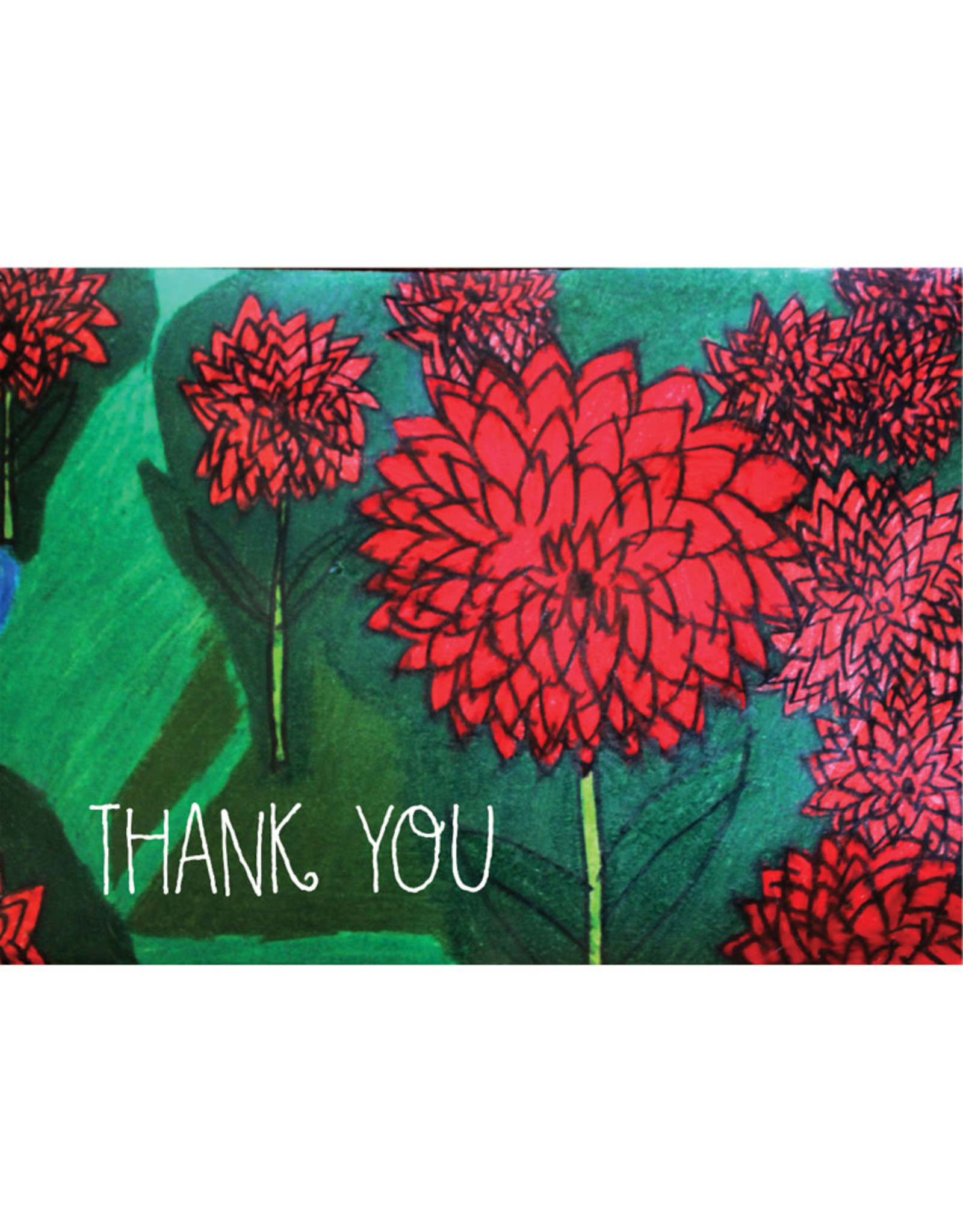 Create Greeting Card-Thank You-Red Flowers