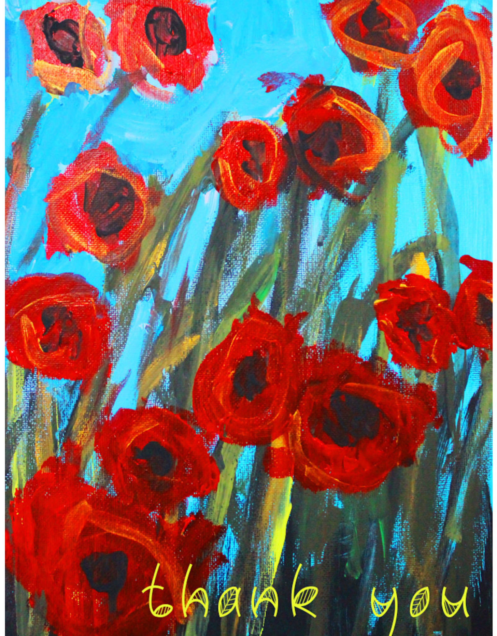 Create Greeting Card-Thank You-Poppies