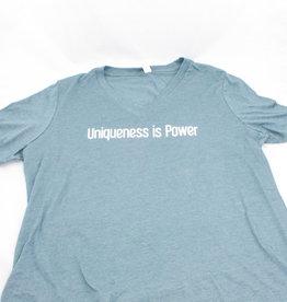 Vista Life Believer Lighthouse SS V-neck t-shirt. Woman's S Tahiti Blue