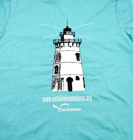 Vista Life Believer Lighthouse SS V-neck t-shirt. Woman's M Tahiti Blue