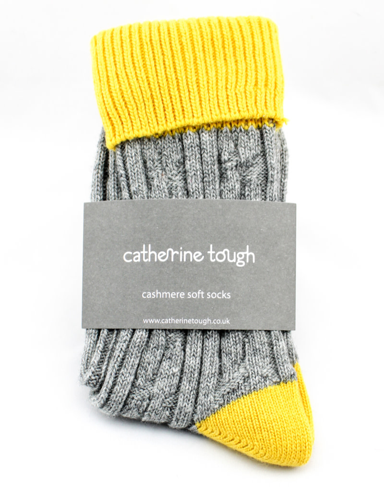 Catherine Tough Cashmere Slouch Weekend Socks-Large-grey/yellow