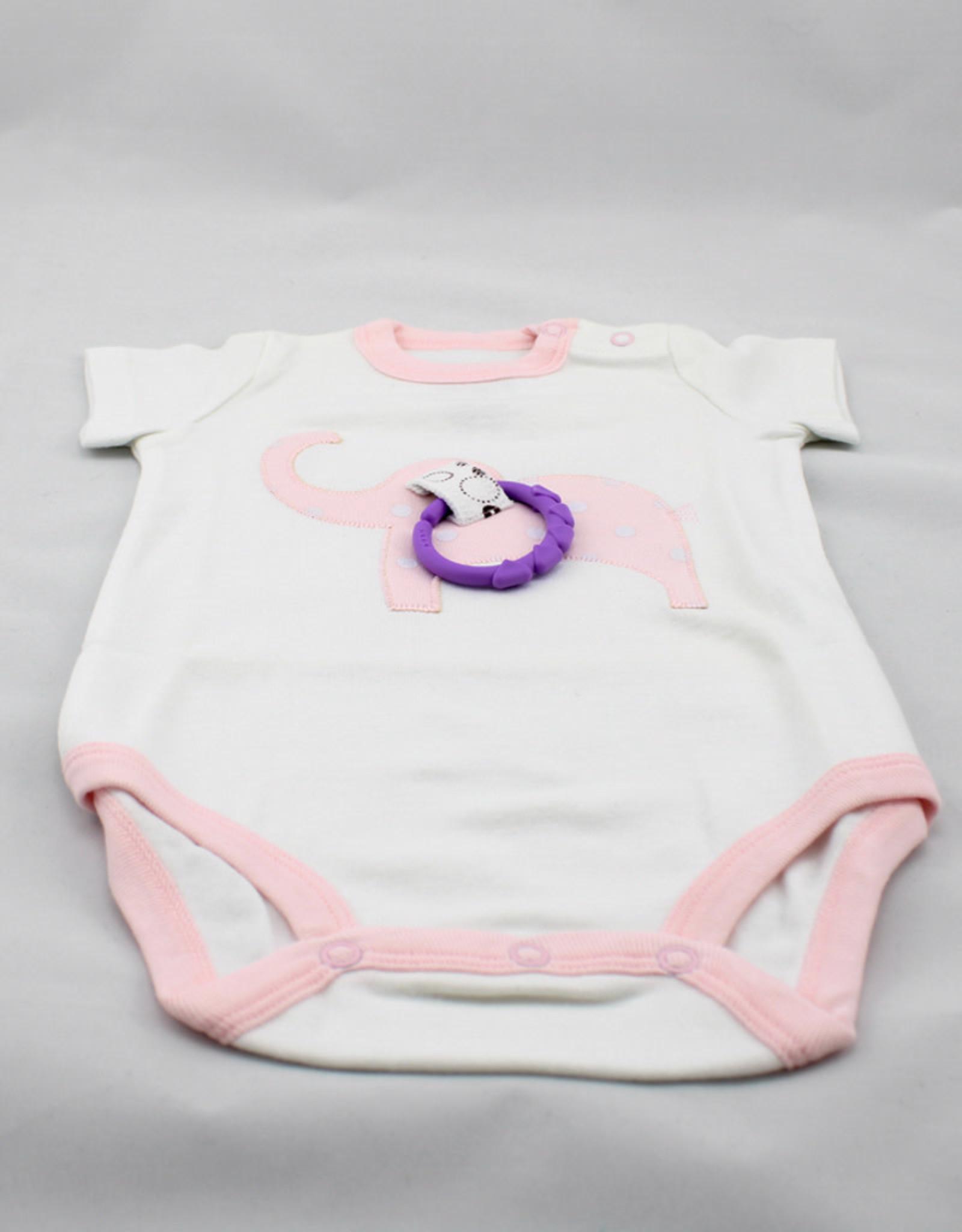 Happy Baby LLC Pink Elephant Short Sleeve-6m