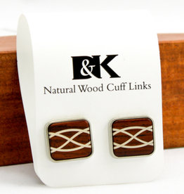 Davin and Kesler, Inc. Cuff Link Braid Argentium Silver Inlay - Cocobolo