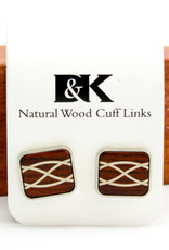 Davin and Kesler, Inc. Cuff Link Braid Argentium Silver Inlay-Cocobolo